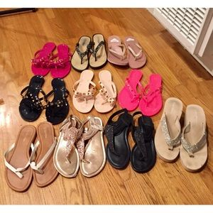 Bundle of 10 Pairs of Sandals/Flip Flops Jelly 90s